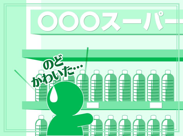 Q10.スーパーで買い物中、激しくノドが渇いてきました。目の前に清涼飲料水売り場があります。さて、どうしましょう?